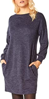 Roman Originals Women Slouch Dress with Pockets - Ladies Lounge Tunic Casual Oversized Cocoon Loose Relaxed Fit Floaty Bag...