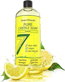 Pure Castile Soap, Lemon - No Palm Oil, GMO-Free - Gentle Liquid Soap For Sensitive Skin & Baby Wash - All Natural Vegan F...