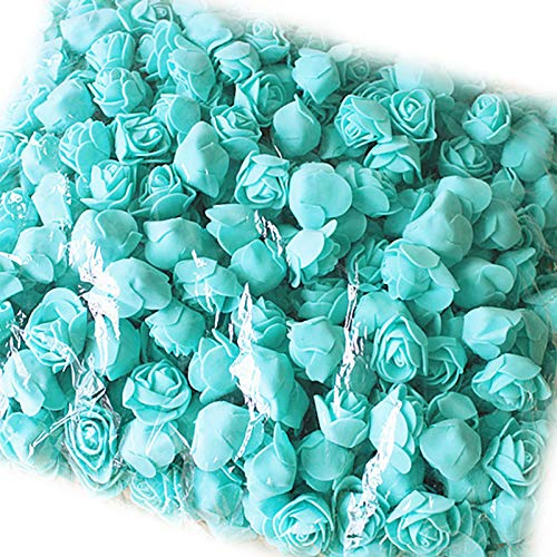 YUANMAO 500pcs DIY Rose Head PE Espuma Mini Rose Artificial Flor para DIY Oso Muñeca Boda Decoración Casa Verde Menta