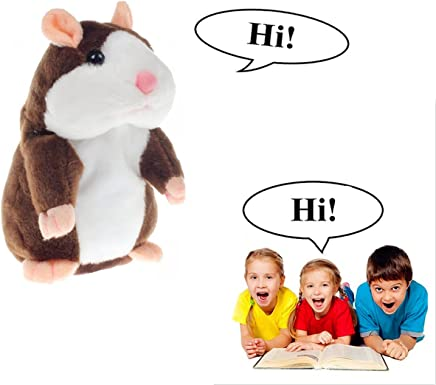 Cute Talking Hamster Repeats What You Say, Electronic Pet Mimicry Hamster Nod Head and Talking Plush Toy Buddy Mouse for Kids Gifts (Deep brown)