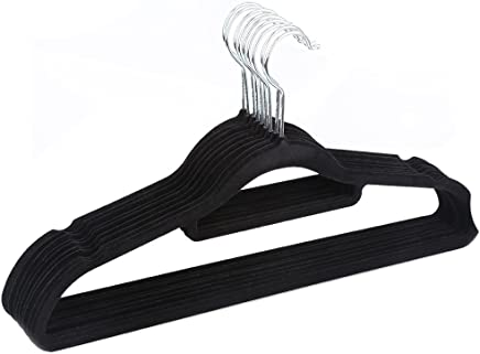 PKWEHKG Pack Non-Slip Ultra-Thin 360 Degree Swivel Flocked Adult Clothes Hangers with Tie Bar  Notched Shoulders for Garmen