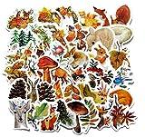 ZJJHX Forest Autumn Landscape Cute Animal Hand Account Sticker Notebook Suitcase Niños Impermeable Etiqueta de teléfono móvil 40 Hojas