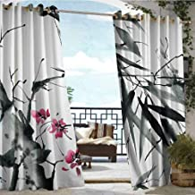 Andrea Sam Outdoor Balcony Privacy Curtain Traditional House Decor,Natural Sacred Bamboo Stems with Cherry Blossom Folk Art Print,Dark Green Fuchsia,W84 xL108 Silver Grommet Top Drape