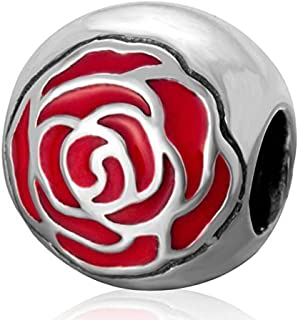 Belle's Enchanted Rose with Red Enamel 925 Sterling Silver Charms Bead for European Bracelet