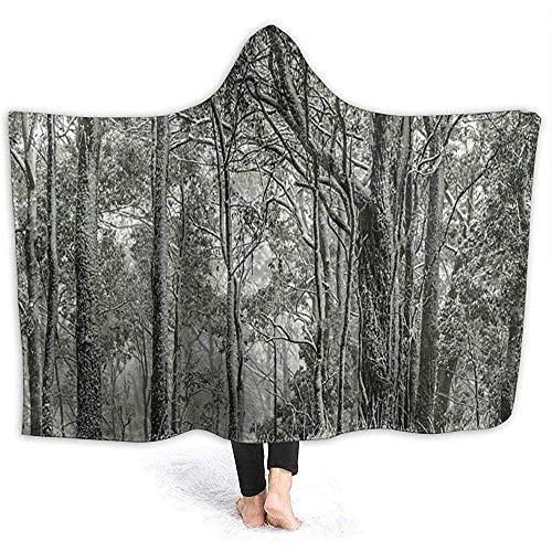 Cathycathy sneeuw bedekte kauwgom bomen bos Australische Hooded Wrap met capuchon Hoodie draagbare deken met capuchon Sherpa deken