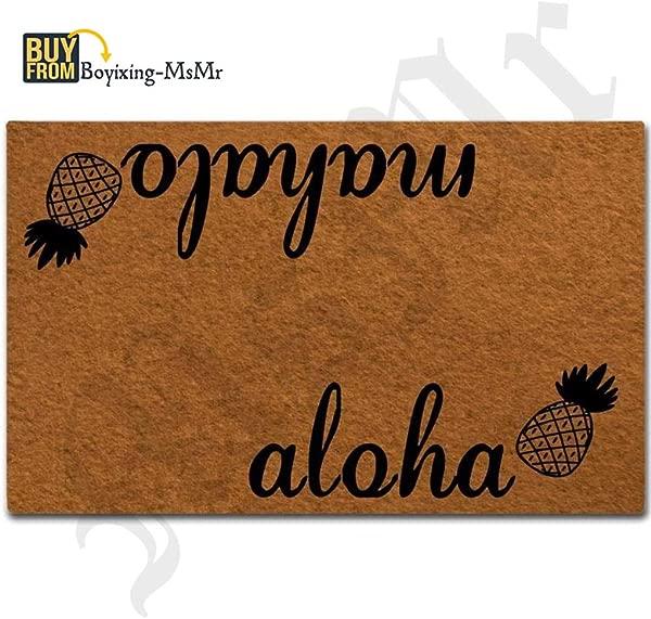 MsMr Doormat Entrance Floor Mat Aloha Mahalo Pineapple Funny Door Mat Indoor Outdoor Decorative Doormat Non Woven Fabric Top 23 6 X15 7