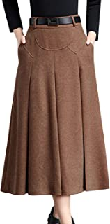 Tanming Womens Winter High Waist A-Line Pleated Wool Long Skirt with Waist Loops