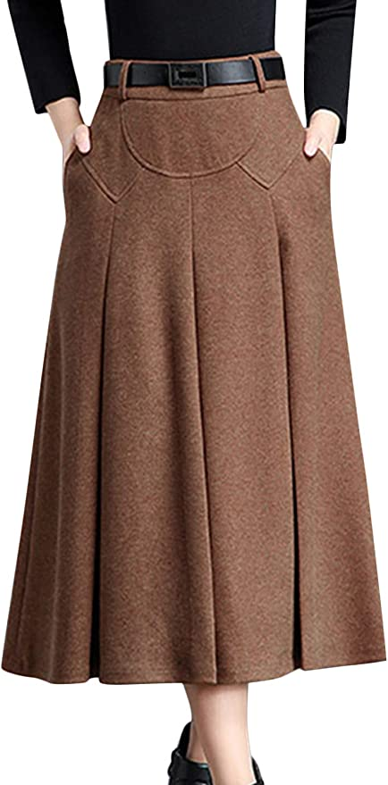 1940s Style Skirts- Vintage High Waisted Skirts Tanming Womens Winter High Waist A-Line Pleated Wool Midi Skirt with Belt Loops  AT vintagedancer.com