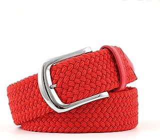MYCHOMEUU Men's Canvas Belt Elastic Woven Belt Fashion Ladies Casual Elastic Belt (Color : Red, Size : 107 * 3.3cm)