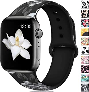 Floral Bands Compatible for Apple Watch 40mm 44mm Series 4 Series 5, Soft Silicone Pattern Printed iWatch bands 38mm 42mm women Comfortable Sport Wristbands for Apple watch, iWatch Series 3/2/1