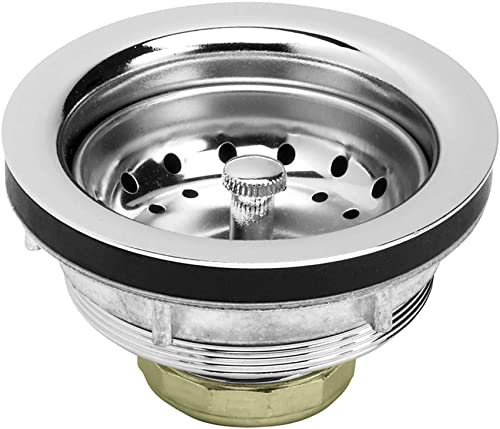 Highcraft 9738 Kitchen Sink (3-1/2 Inch) Stainless Steel Drain Assembly With Strainer Basket-and Water Stopper, Single