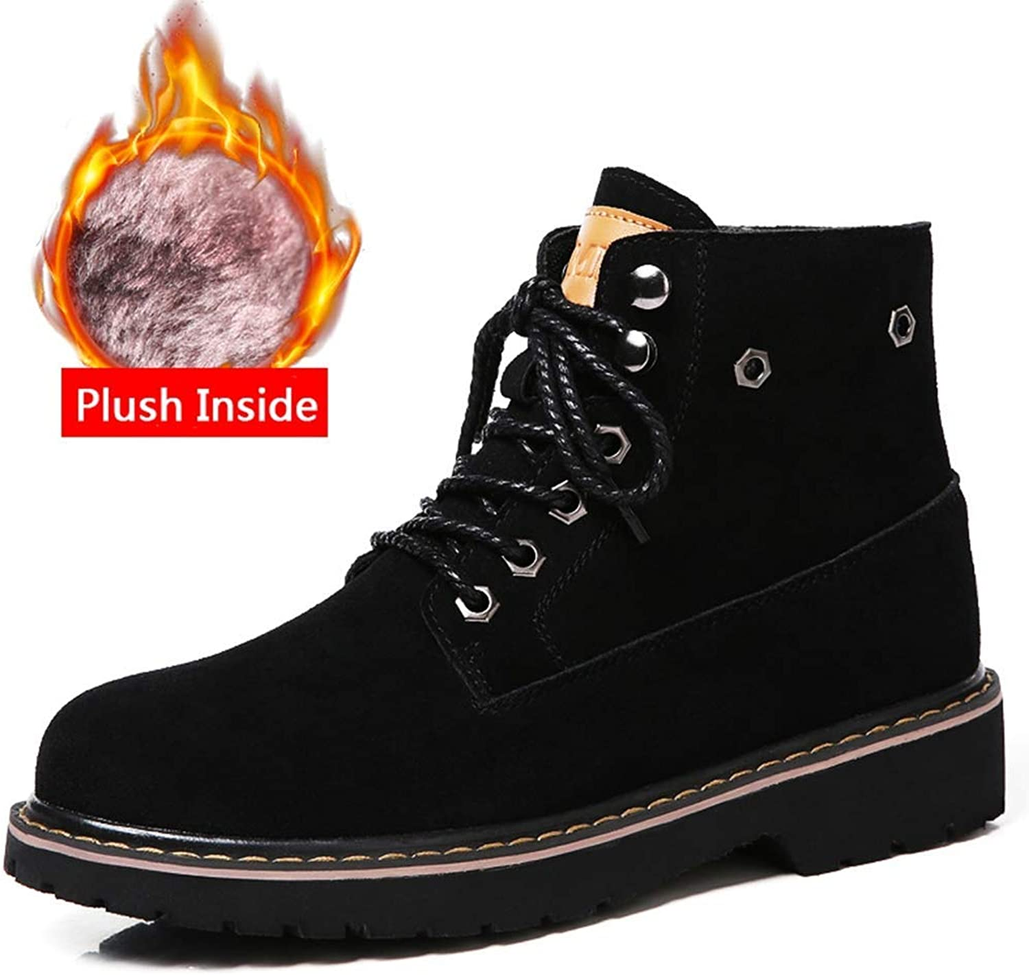 BMTH Women Winter Motorcycle Ankle Boots Ladies Round Toe Cow Suede Leather Boots Warm Lace Up Plush Flat Short Boots