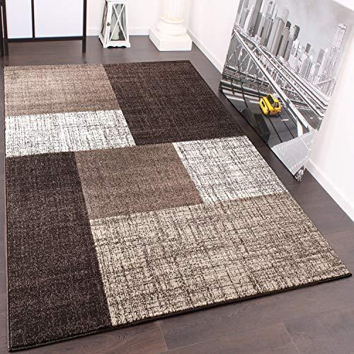 Paco Home Designer Teppich Kurzflor Karo Muster Braun Creme Meliert, Grösse:160x230 cm