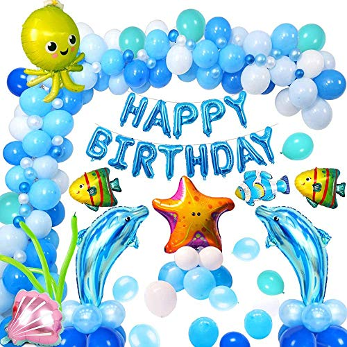Yansion Blue Sea Party Decoration,Under the Sea Fish Ocean Theme Birthday Baby Shower Decorations for Kids Girls and Boys Marine Animals Dolphin Shell Starfish Beach Balloon with Happy Birthday Banner
