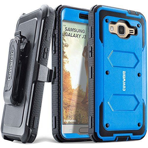 COVRWARE Aegis Series Compatible with Galaxy J3 (2016)/ J3 V/Sky/Sol/ j36/ j36V/Amp Prime/Express Prime Full-Body Holster Armor Case with Built-in Screen Protector, Belt-Clip, Kickstand, Blue