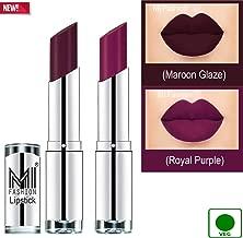 MI Fashion® Brand New 100% Veg and Vitamin e Enriched Long Stay Soft Matte Addiction Lipstick Set of 2(Maroon Glaze and Royal Purple)