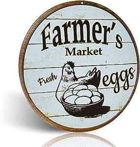 不适用 Metal Signs Farmer's Market for Fresh Eggs Retro Vintage Chic Style Decorative Old Metal Signs for Farm Wall Décor Gift 12