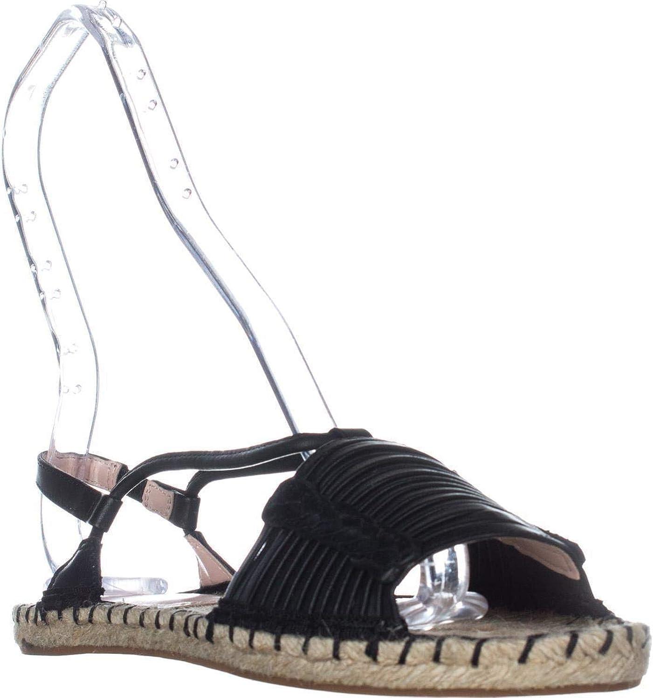 Avec Les Filles Womens Genevie Open Toe SlingBack Espadrille, Black, Size 9.5