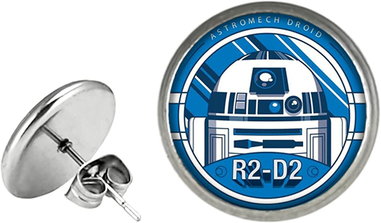 Star War R2D2 BB8 Earrings Stud, Anime Cartoon Metal Ear Studs, Gifts for Women, Men, Girls and Boys