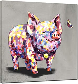 sechars - Funny Animal Canvas Art Cute Pig Baby with Butterfly Painting Prints on Canvas Gallery Wrap Colorful Animal Artwork for Kids Room Home Decoration