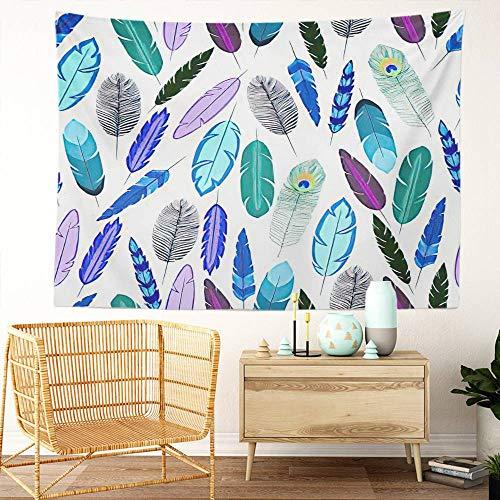 Y·JIANG Tapiz de plumas, plumas de pájaro, decoración para el hogar, dormitorio grande, manta ancha para colgar en la pared para sala de estar, dormitorio, 60 x 50 pulgadas