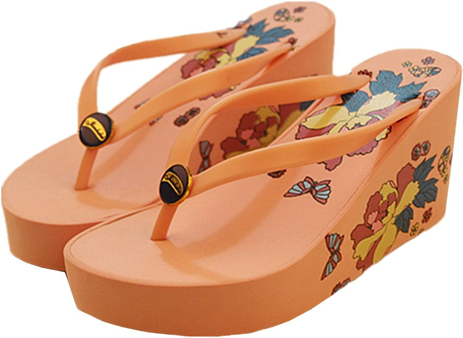 ANBOVER Womens Chunky High Platform Wedges Foral Flip Flops
