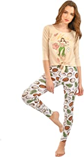 Habiba Cotton Round-Neck Front-Knot Long Sleeves Top with Coconut-Print Leggings Pajama Set for Women