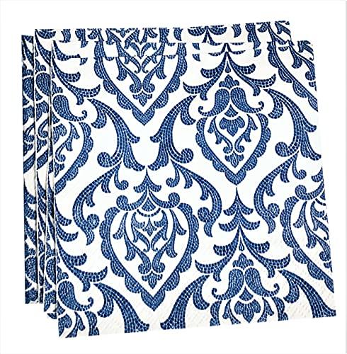 40-ct 5x5 Blue Napkins Paper Damask Napkins Decorative Paper Napkins Decoupage...