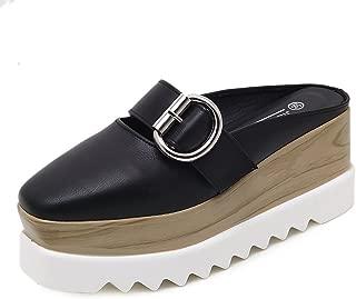 Women's Square-Toe Wedges Non-Slip Platform PU Sneakers Fashion Pump Slipper Sandals