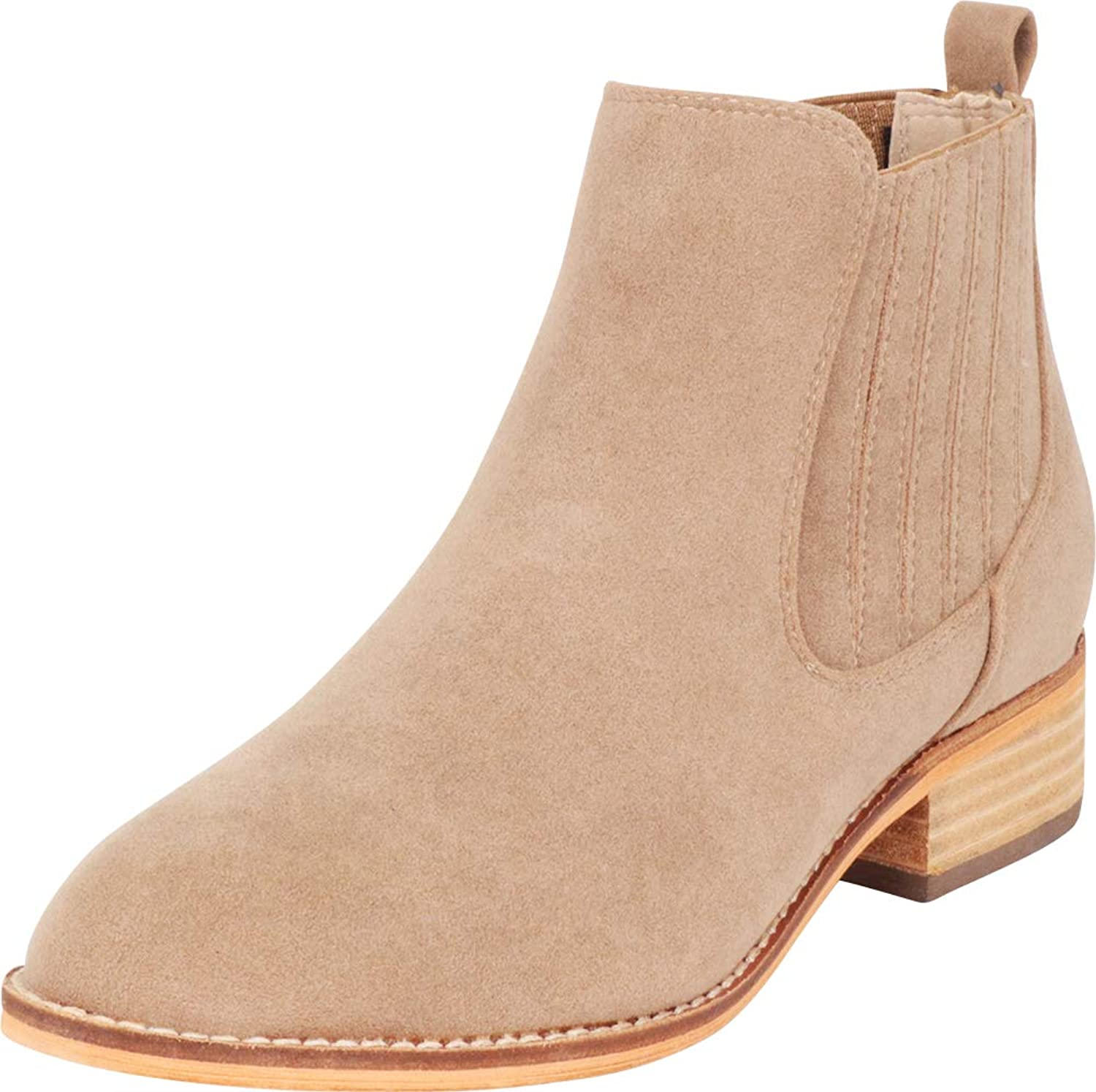 Cambridge Select Women's Classic Side Stretch Low Stacked Heel Ankle Bootie