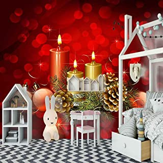 VITICP Adults Kids Wall Stickers Decals Peel and Stick Removable Wallpaper Cartoon Christmas red Candle for Nursery Bedroo...