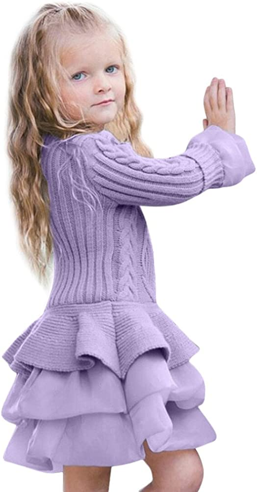 Kehen Girls' Pullover Sweaters, Kid Toddler Girl Autumn Winter Warm Knitted Dress Solid Long Sleeve Tutu Dresses Wedding