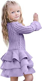 ❤️ Mealeaf ❤️ Toddler Kids Girls Tutu Dress Pullovers Crochet Knitted Sweater Winter Warm Tops Clothes 0-7t