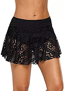 Just For Plus Women Plus Size Lace Shorts Attached Elastic Waist Bottom Swimwear,L-3XL