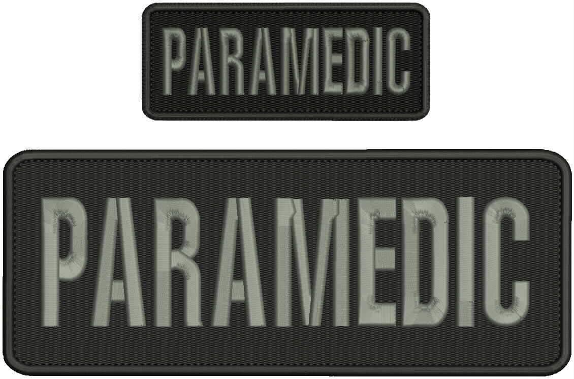 Paramedic Embroidery Patch 4x10 and 2x5 L Black Brand Cheap Raleigh Mall Sale Venue Hook Grey Border