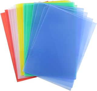 PRALB Clear Document Folder Project Pockets,A4 Size Document Bag,Letter Size,Set of 25 in 5 Assorted Colors