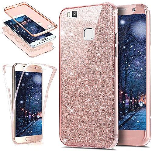 Cover Huawei P9 Lite,Custodia Huawei P9 Lite,Cristallo lusso Bling scintillio lucido 360°Full Body Cover Silicone Case Molle TPU Trasparente Sottile Case Cover Custodia per Huawei P9 Lite,Oro rosa