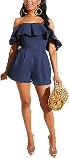 Fastkoala Women Fashion Denim Rompers - Off Shoulder Ruffle Hem Short Sleeve Wide Leg Jeans Short Back Zip One Piece Outfits