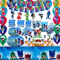PJ Masks Birthday Party Supplies for 10 Guests, PJ Masks Party Decorations Included Plates, Cups, Tablecloth, Banner, Napkins, Cake Toppers, Hanging Swirl, Balloons for PJ Masks Party Favors Kids Boys by USFUNGAME