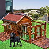 BEDS Pet Wooden Pet Kennel Waterproof Ventilate Dog House Comfortable Pet Shelter Pullable Bottom Plate With Fence Area For Outdoor Use, Single Window/Double Window Run-anmy