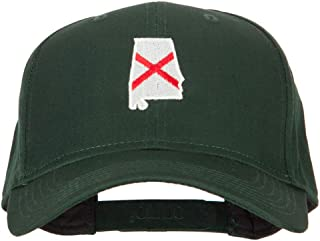 Alabama State Flag Map Embroidered Solid Cotton Pro Cap