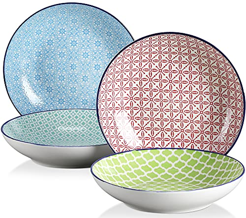 vancasso, série Macaron, 4 Pièces Assiette Creuse Japonaise, Assiettes à Salade en Porcelaine, Style de Japonais