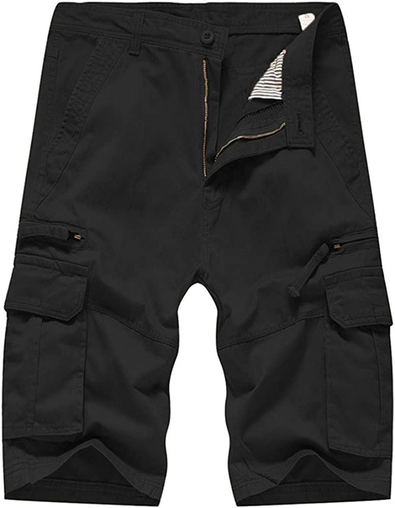 Misaky Men's Casual Pure Color Outdoors Pocket Beach Work Trouser Cargo Shorts Pant
