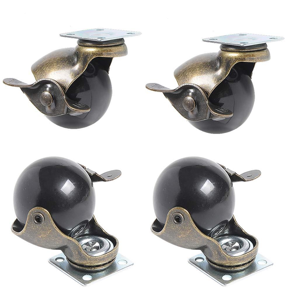 Casters Rueda esférica de 4 Piezas de 2 Pulgadas, giratoria, 360°, Freno de Rueda, Mesa Pesada y sillas, Mesa de café, Caja de Zapatos de Juguete: Amazon.es: Hogar