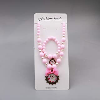 Guy-Sex 2019 New Baby Girls Jewelry Necklace Elsa Anna Children Beads Accessories Princess Elsa Pendant Necklace