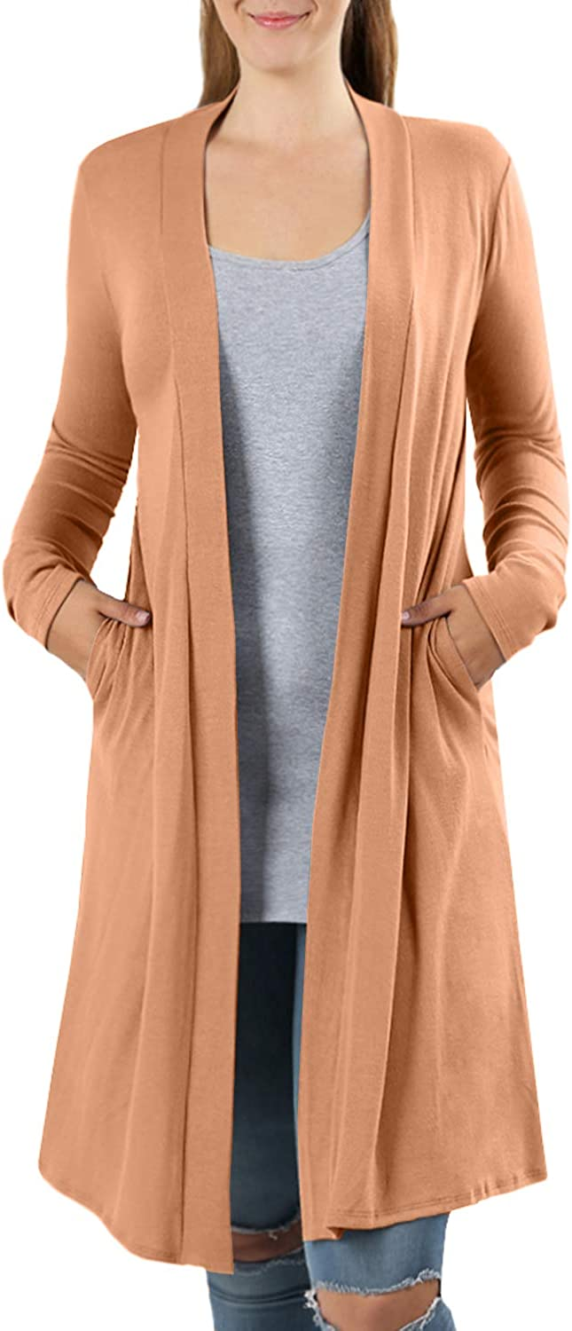NE PEOPLE Womens Stretch Loose Fitted Above Knee Length Shawl Collar Rayon Spandex Cardigan S-3XL