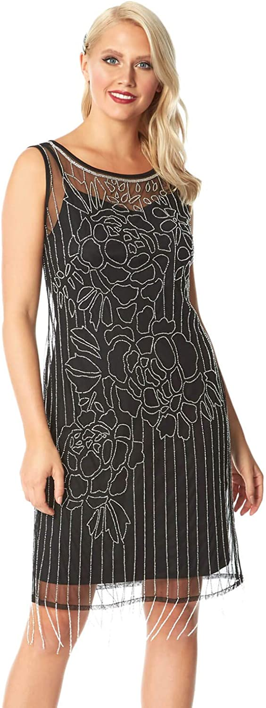 Roman Originals Sale item Women Floral Dress Flapper Dealing full price reduction Embellished