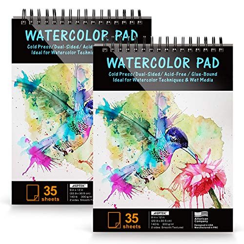 Paper Pad, AGPTEk Watercolor Paper Pad 2 Packs 9 X 12 inches, 140lb/300gsms, 70 Sheets, Acid Free Great for Watercolor Painting and Wet Media, 2 Pack