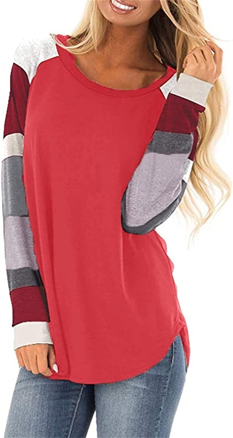 Tops for Women Solid Color O-Neck Buttons Tunic Comfy Breathable Tshirts Leisure Tops