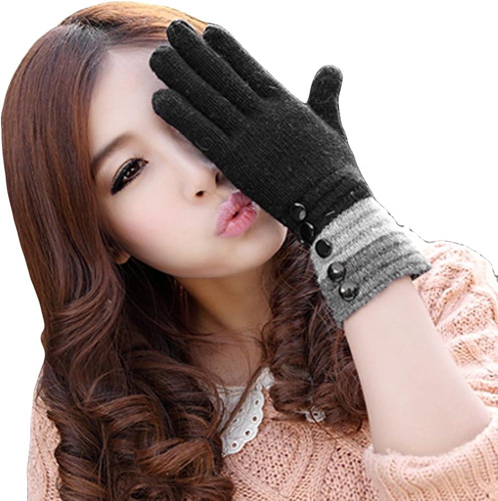 LOCOMO Women Girl Capacitive Touch Screen Gloves Fashion Design FAF039BLK Black